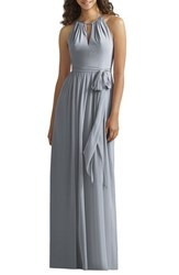 Women's Social Bridesmaids Halter Style Jersey And Chiffon Gown