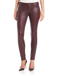 Ag Jeans Leather Skinny Jeans Burgundy