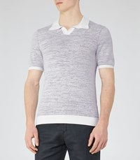 Reiss Thompson Mens Textured Polo Shirt In Grey