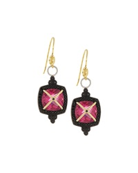 Jude Frances Fuchsia Quartz Cross Canopy Drop Earrings W Black Spinel