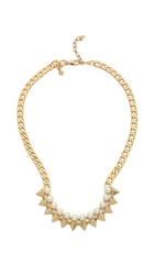 Rebecca Minkoff Spike Collar Necklace Gold Pearl