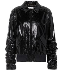 Saint Laurent Patent Leather Jacket Black