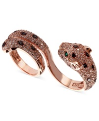 Effy Collection Effy Signature White 1 3 4 Ct. T.W. And Black Diamond 1 8 Ct. T.W. And Emerald Accent Panther 2 Finger Ring In 14K Rose Gold