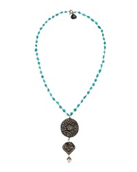 Love Heals Turquoise And Pearl Triple Pendant Necklace