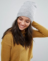 Plush Fleece Lined Knit Marled Beanie Hat In Heather Grey Heather Grey