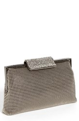 Whiting And Davis Crystal Frame Clutch Metallic Silver