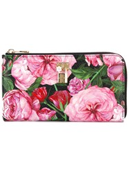 Dolce And Gabbana Rose Print Wallet Women Calf Leather One Size Pink Purple
