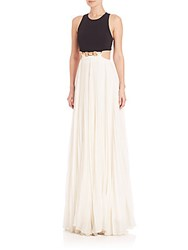 Halston Cutout Pleated Colorblock Gown Black Eggshell