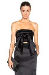 Sally Lapointe Bonded Satin Front Tie Bustier In Black