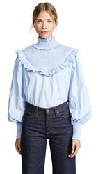 English Factory Smocked Top Blue