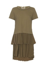 Muveil Layered Cotton Jersey And Crepe Dress Khaki