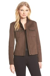 Women's Nordstrom Collection 'Amity' Leather Trim Cotton Jacket