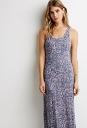 Forever 21 Tribal Print Maxi Dress Pink Blue