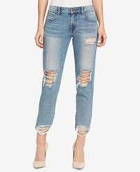 William Rast Cotton Ripped Boyfriend Jeans Pale Corner