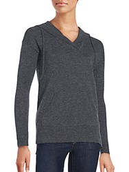 Cashmere Saks Fifth Avenue Long Sleeve Ribbed Hoodie Charcoal