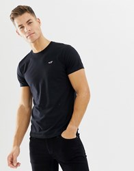 Hollister Crew Neck Core Icon Logo T Shirt Slim Fit In Black