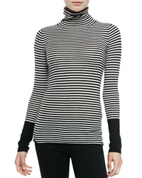 Neiman Marcus Cashmere Collection Striped Cashmere Long Sleeve Turtleneck Large