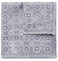 Brunello Cucinelli Reversible Printed Linen And Cotton Blend Pocket Square Gray