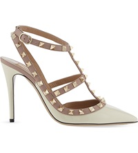 Valentino Rockstud 100 Patent Leather Heeled Courts Champagne