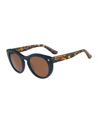 Salvatore Ferragamo Rounded Cat Eye Sunglasses Petrol Blue
