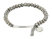 Guess Stretch Bead Bracelet With Love Drop Hematite Silver Bracelet