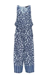Thakoon Floral Print Cropped Jumpsuit Navy