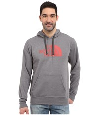 The North Face Half Dome Hoodie Tnf Medium Grey Heather Pompeian Red Men's Long Sleeve Pullover Gray