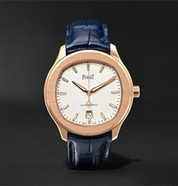 Piaget Polo S Automatic 42Mm 18 Karat Red Gold And Alligator Watch Blue