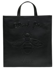 Gucci Embossed Bee Leather Tote Bag