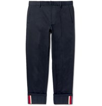 Gucci Highlands Slim Fit Webbing Trimmed Cotton Drill Trousers Navy