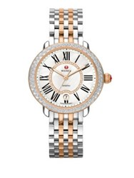 Michele Serein 16 Diamond Mother Of Pearl 18K Rose Goldplated And Stainless Steel Bracelet Watch Silver Rose Goldtone
