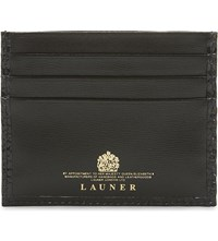 Launer Lizard And Calf Leather Card Holder Black