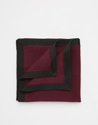 Asos Knitted Pocket Square In Burgundy With Black Border Red
