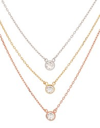 Lord And Taylor Bezel Set Cubic Zirconia Layered Necklace Set Tri Colour