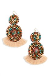 Panacea Rope Stone Fringe Earrings Multi
