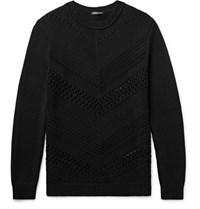 Balmain Open Knit Cotton Sweater Black