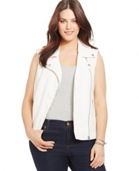 Style And Co. Plus Size Perforated Moto Vest Bright White