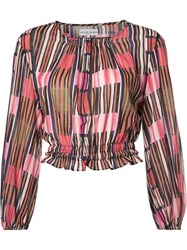Apiece Apart Balloon Sleeves Printed Top Pink Purple
