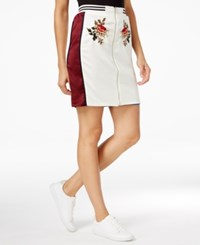 Endless Rose Embroidered Zip Front Skirt Ivory Cobalt