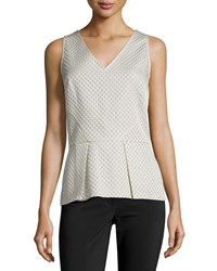 Natori Matelasse Sleeveless Peplum Top Pearl White