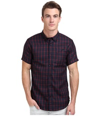 Publish Lamant Grid Plaid Short Sleeve Woven Shirt Navy Men's Short Sleeve Button Up