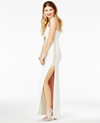 Jump Juniors' Rhinestone Trim Gown A Macy's Exclusive Style White