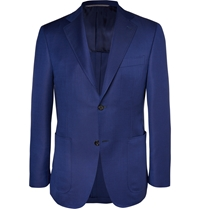 Canali Kei Unstructured Wool And Mohair Blend Blazer Blue