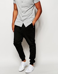 River Island Joggers With Faux Leather Panel Black