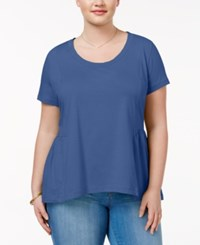 American Rag Trendy Plus Size Cotton Peplum T Shirt Only At Macy's Bright Cobalt