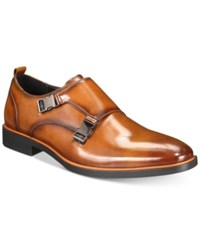 Alfani Alfatech By Heath Double Monk Plain Toe Loafers Created For Macy's Shoes Medium Brown