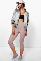 Boohoo Stretch Rib High Waist Cropped Leggings Stone