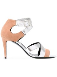Pierre Hardy Contrast Sandals Women Chamois Leather Leather 40 Nude Neutrals