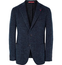 Isaia Sansevero Slim Fit Boucle Blazer Blue