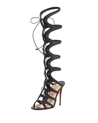 Christian Louboutin Amazoulo 100Mm Leather Tall Gladiator Red Sole Sandal Black Girl's Size 35.5B 5.5B
